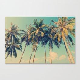 Aloha! vintage summer sunny day palm tree on the beach Canvas Print