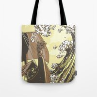 vikings Tote Bags featuring Vikings by Josue Noguera