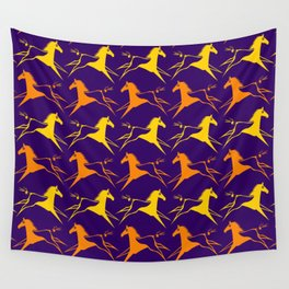 Horse Nation Purple Gold Wall Tapestry