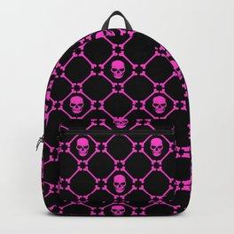 Skulls and bones hot pink on black Backpack