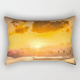 warm color tone orange sunset over hong kong urban city skyline at seafront Rectangular Pillow