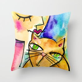 My Crazy Cat No. 3 by Kathy Morton Stanion Throw Pillow