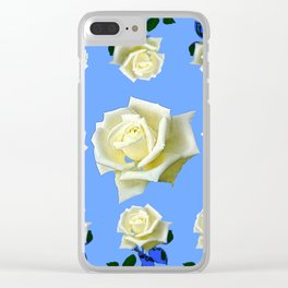 WHITE ROSES BLUE GARDEN DESIGN Clear iPhone Case