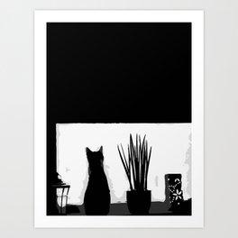 Kitty in the Window Art Print