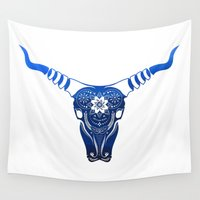buffalo Wall Tapestries featuring Blooming Buffalo by Danica Tan