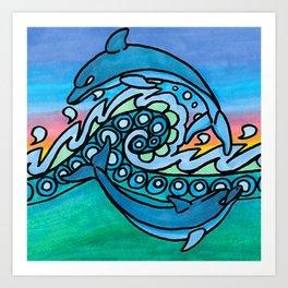 Dancing Dolphins Art Print