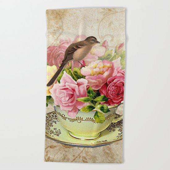 Tea flowers #3 Beach Towel