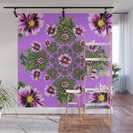 Lilac Purple Abstract Dahlias Garden Art Wall Mural