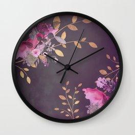 FLOWERS & GOLD  Wall Clock