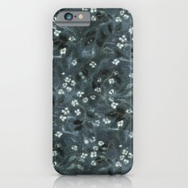Apple Blossom, Floral Pattern, Faux Wool Texture, Grey Gray Monochrome iPhone Case