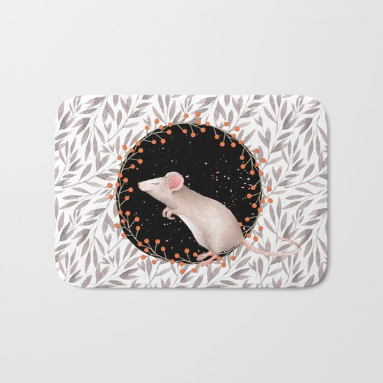 Beautiful nosey Mouse with flower backround- Animal- child - mice- flowers Bath Mat
