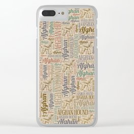 Afghan Hound silhouette and word art pattern Clear iPhone Case