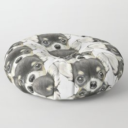 Chihuahua mix color Dog illustration original painting print Floor Pillow