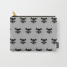 Funny Skull Black Gray Pattern Carry-All Pouch