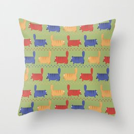 March of fat cats Throw Pillow