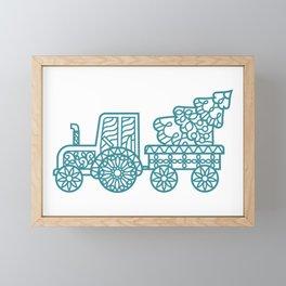 Christmas tractor Framed Mini Art Print