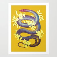snake Art Prints featuring Snake by The Wildest Little Things