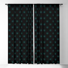 Teal Green on Black Snowflakes Blackout Curtain
