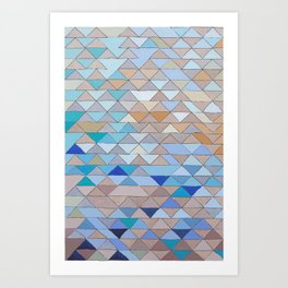 Triangle Pattern no.1 Blues and Browns Art Print