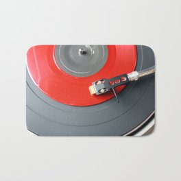 Red Vinyl Record Bath Mat