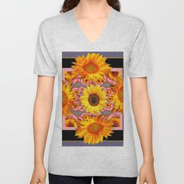 Grey-Black Geometric Sunflower Pink Art Unisex V-Neck