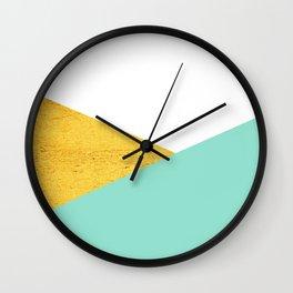 Gold & Aqua Blue Geometry Wall Clock