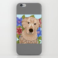 golden retriever iPhone & iPod Skins featuring Golden Retriever by ArtLovePassion