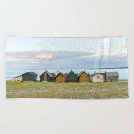 Fishing huts hutte 7 Beach Towel