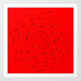Minimalist Spring Floral Cyclone (Black on Red) Art Print