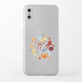 Catstronauts - retro catastronaut pattern Clear iPhone Case