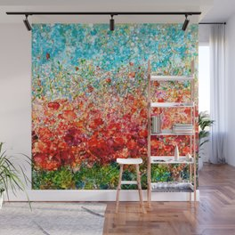 Field Of Spring Poppies Panorama Wall Mural