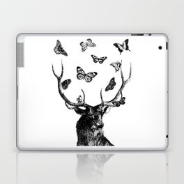 The Stag and Butterflies   Black and White Laptop & iPad Skin