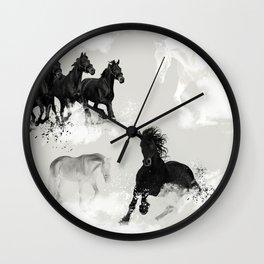 Horses. Running. Wilderness. Wall Clock