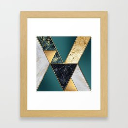 abstract art deco background, modern mosaic inlay, creative textures of marble granite and gold, art Framed Art Print