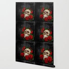 Red Rose Sugar skull Wallpaper