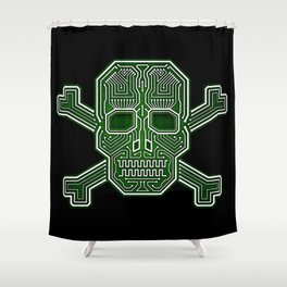 Hacker Skull Crossbones (isolated version) Shower Curtain