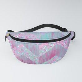 Geometrical pink teal watercolor splatters brushstrokes chevron Fanny Pack