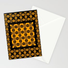African Ethnic Pattern Black and Orange Stationery Cards