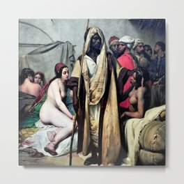 "Classical masterpiece ""The Slave Market"" by Emile Jean-Horace Vernet Metal Print"