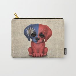 Cute Puppy Dog with flag of Taiwan Carry-All Pouch