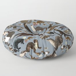 Otters of the World pattern in grey Floor Pillow