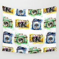 cameras Wall Tapestries featuring Vintage Cameras by Abby Diamond