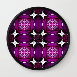 Purple Pattern Overload  Wall Clock