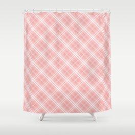 Blush Pink Valentine Sweetheart Tartan Plaid Check Shower Curtain