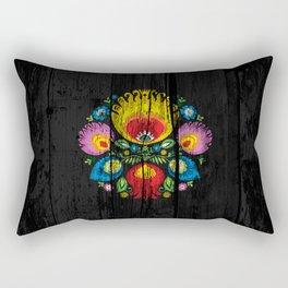 folk flower dark Rectangular Pillow
