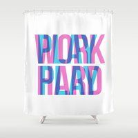 work hard Shower Curtains featuring WORK HARD. PLAY HARD. by Good Sense