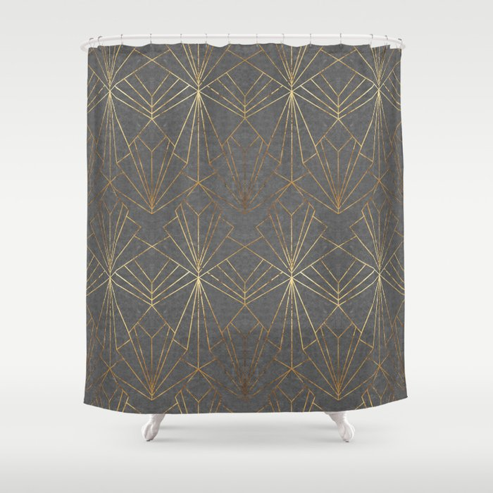 Art Deco In Gold & Grey Shower Curtain By Wellingtonboot