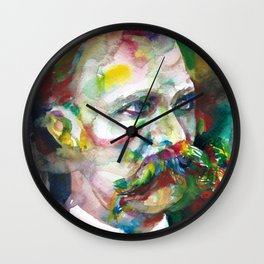 FRIEDRICH NIETZSCHE - watercolor portrait.4 Wall Clock