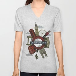 Around London digital illustration Unisex V-Neck