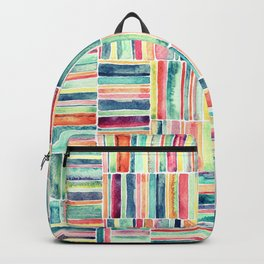 Retro Beach Chair Pastel Watercolor Stripes Backpack